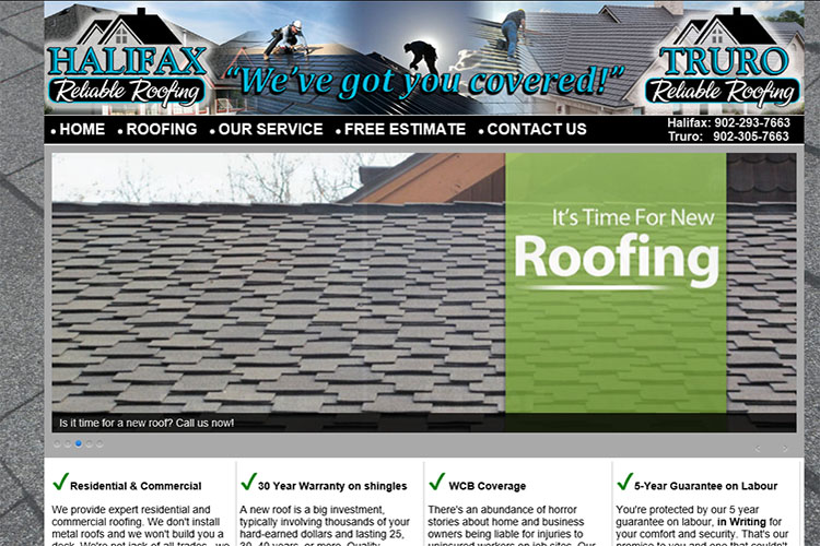 Reliable Roofing website design hosting and development Montreal montreal quebec